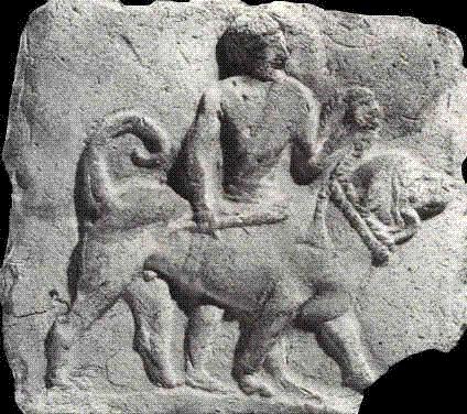 Древний барельеф с изображением молосса