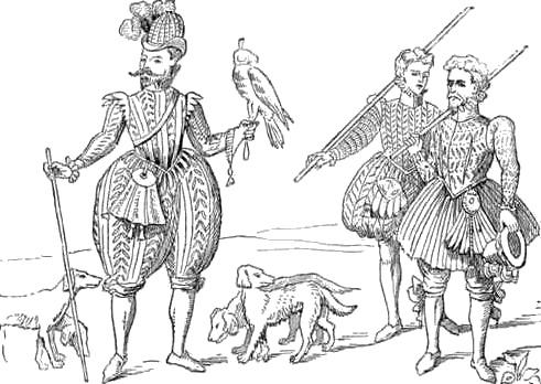 Рисунок, изображающий соколиную охоту со спаниелями