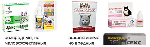 Две группы препаратов типа «Антисекс» для кошек