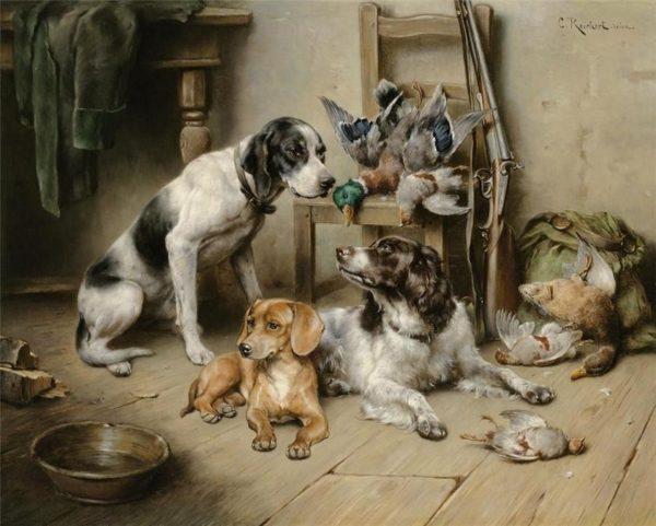 Внешний вид бассетов в начале 19-го века (слева)