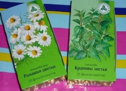 Пакетированные природные лекарственные средства - ромашка и крапива