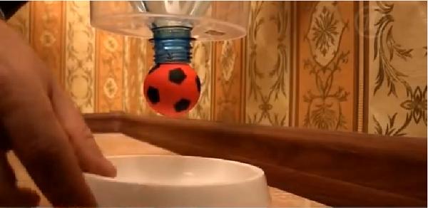Располагаем кормушку у стены, подцепляя ее, например, на крючок, а под нее ставим миску для еды кота