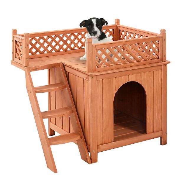 Модный двухэтажный домик для собаки, выполненный в два этажа, может собрать каждый желающий
