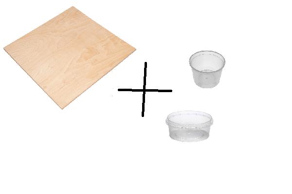 Закрепите емкости из пластика на листе фанеры в хаотичном порядке, и можете насыпать корм