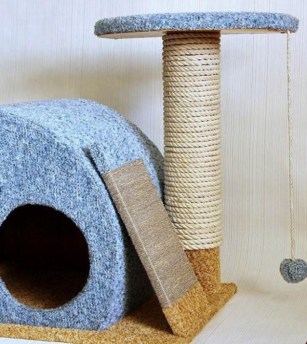 Как выглядит готовый кошачий домик из инструкции №1
