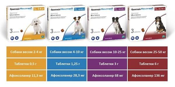 Разновидности препарата Фронтлайн Нексгард для собак