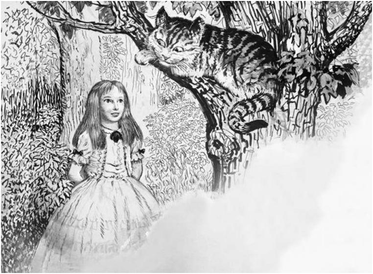 Сказочный чеширский кот из произведения Л. Кэрролла «Алиса в стране чудес» был взят с величественной внешности британской кошки
